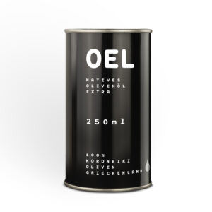 The 250 ml canister filled with extra virgin organic Coroneiki olive oil